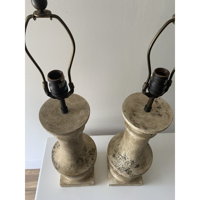 """Antique White 1970s Plaster """"Stone"""" Baluster Lamps - a Pair For Sale - Image 8 of 12"""