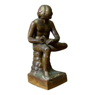 Antique Grand Tour-Style Boy With Thorn Miniature Statuette For Sale
