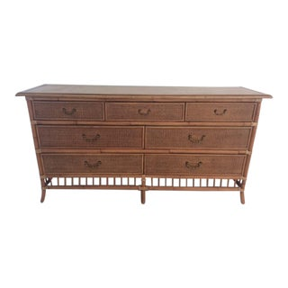 1960s Boho Chic Rattan Natural Finish Double Dresser