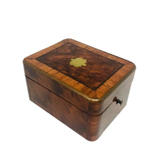 Small French Burled Walnut & Kingwood Jewel Box For Sale