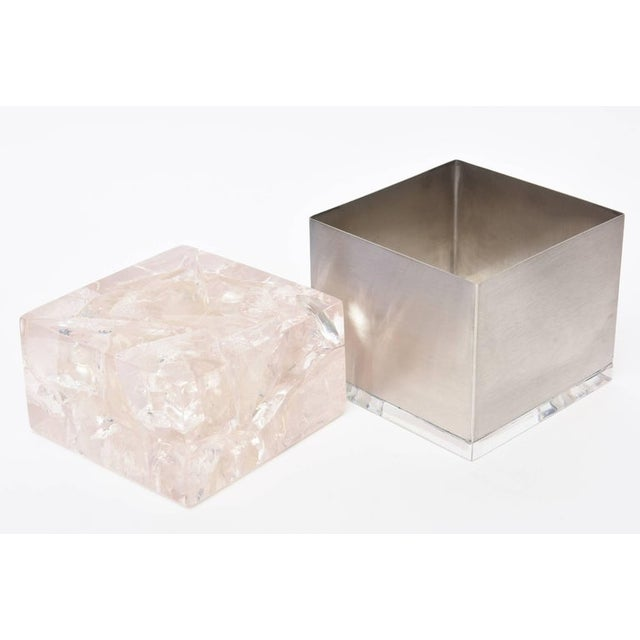 Pierre Giraudon Pierre Giraudon Embedded Lucite and Stainless Steel Boxes-A Pair For Sale - Image 4 of 11