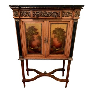 French Louis XVI Hand Painted Marble Top Cabinet For Sale