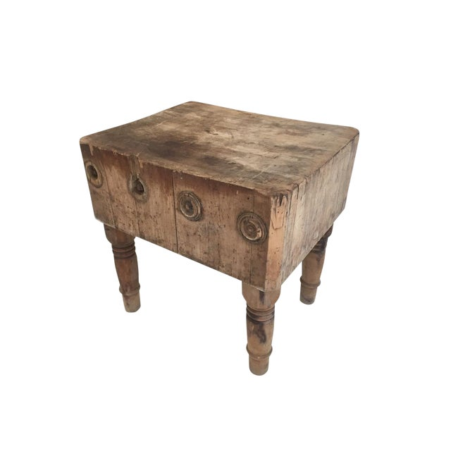 Early 20th Century Rustic American Antique Butcher Chopping Block Table For Sale