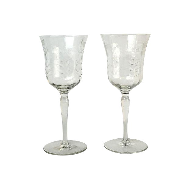 Mid-Century Etched Wine Goblets - A Pair For Sale
