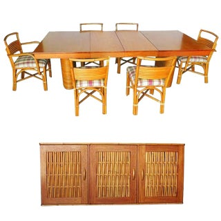 Rare Restored Mid Century Rattan and Mahogany Dining Set with Sideboard For Sale