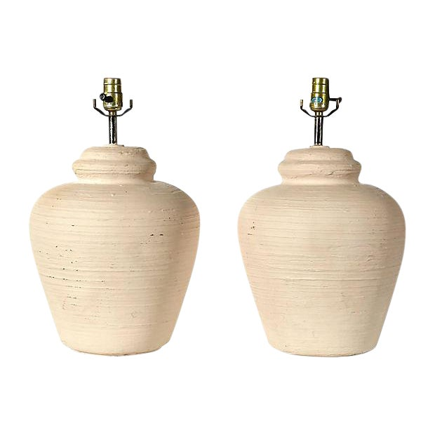 1970s White Textured Ceramic Lamps - A Pair For Sale