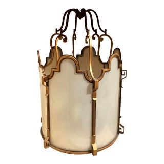 Bronze and Frosted Glass Chandelier For Sale