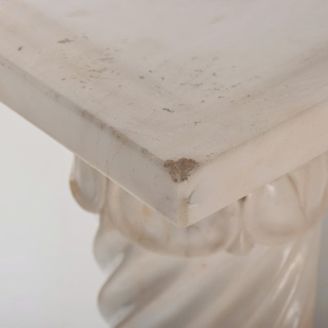 For your consideration a vintage-antique pedestal table made in marble and alabaster. Square top can rotate. Made in...