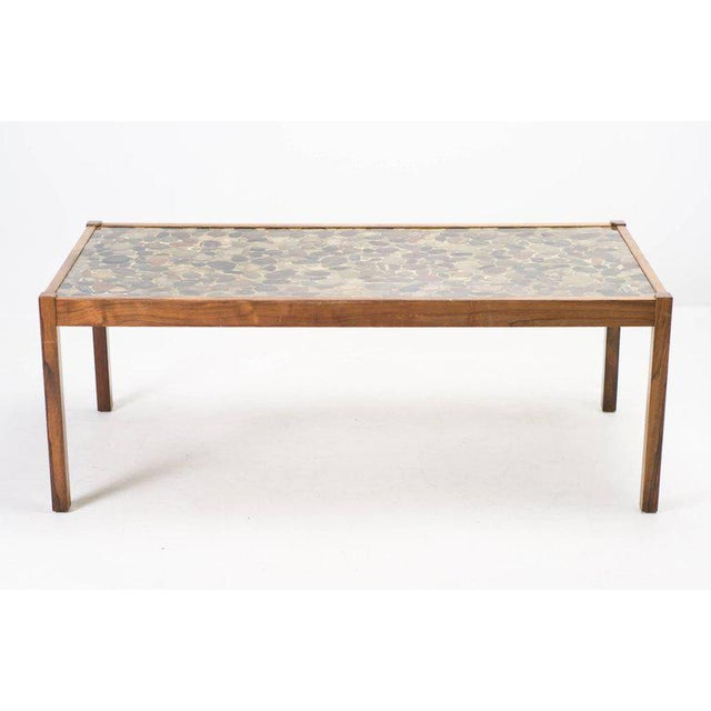 Brown Scandinavian Modern Rosewood Table with Cast Pebbles For Sale - Image 8 of 8