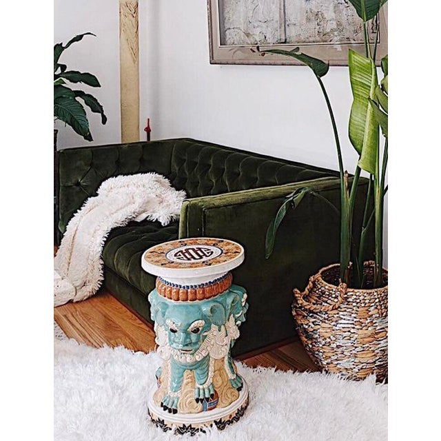 A very gorgeous and rare vintage 3 sided ceramic Foo Dog garden stool, circa 1960's in excellent condition. Reasonable...