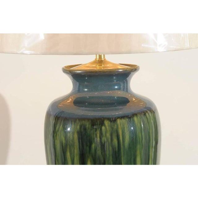 Fantastic Pair of Large-Scale Drip Ceramic Lamps with Blown Glass Finials For Sale In Atlanta - Image 6 of 11