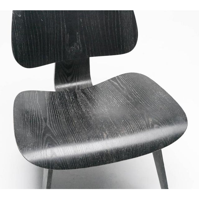 Fabric Charles Eames Black Aniline LCW Chair For Sale - Image 7 of 8