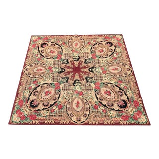 Unusual Antique Square Needlepoint Rug For Sale
