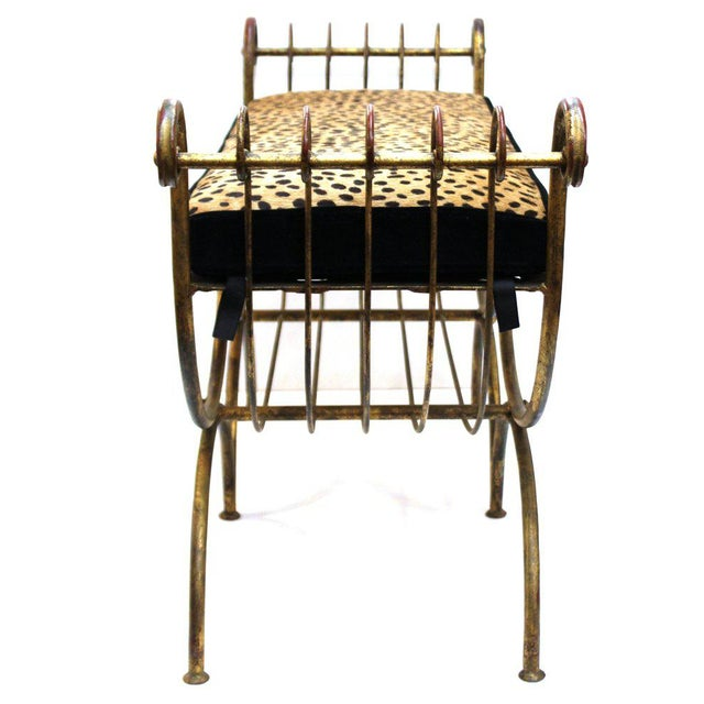 Mid Century Modern Italian Bench in Gilt Iron & Faux Leopard Leather Seat For Sale In New York - Image 6 of 12