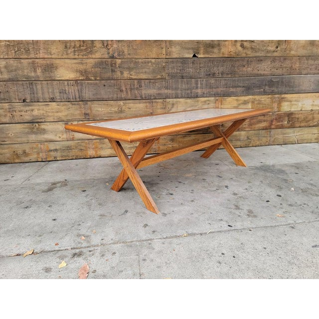 1980s Vintage Tile Top Coffee Table For Sale - Image 10 of 13