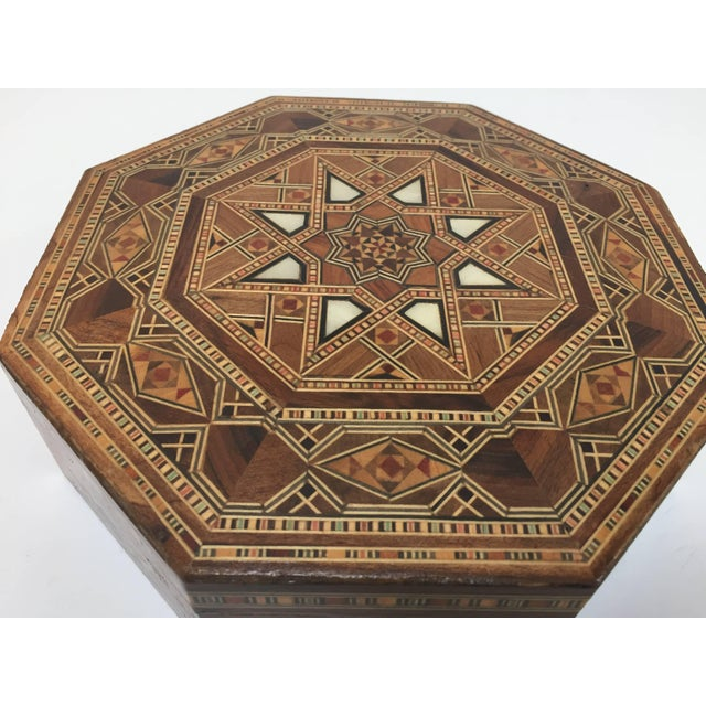 Syrian inlaid marquetry mosaic octagonal jewelry box. The amazing craftsmanship in intricate marquetry fruitwood with...