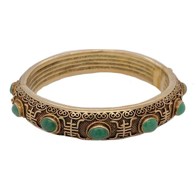 Asian Vintage Chinese Gilt Silver Jade Hinged Bangle Bracelet For Sale - Image 3 of 6