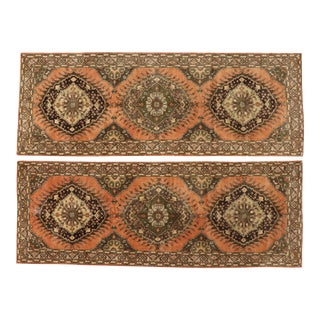 Vintage Turkish Oushak Runners - 05'00 X 13'06- A Pair For Sale