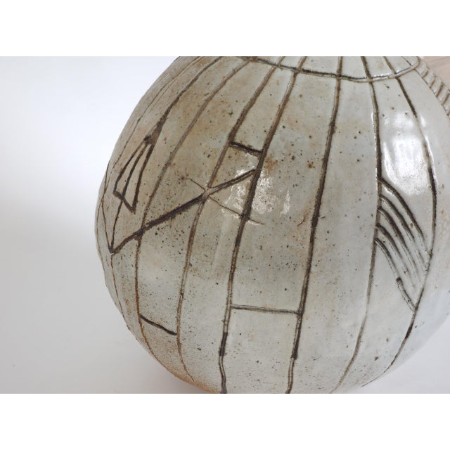 1970s Large Heavy Art Pottery Spherical Vase For Sale - Image 5 of 9