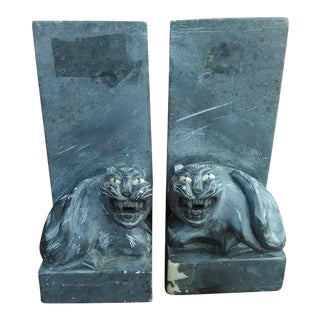 Vintage Black Carved Pyrophyllite Jaguar/Cat Bookends - A Pair For Sale
