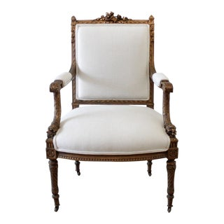 Antique Giltwood French Louis XVI Style Chair With Linen Upholstery For Sale