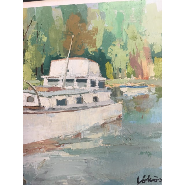 Stefan Lokos Boat At the Marina Painting - Image 11 of 11
