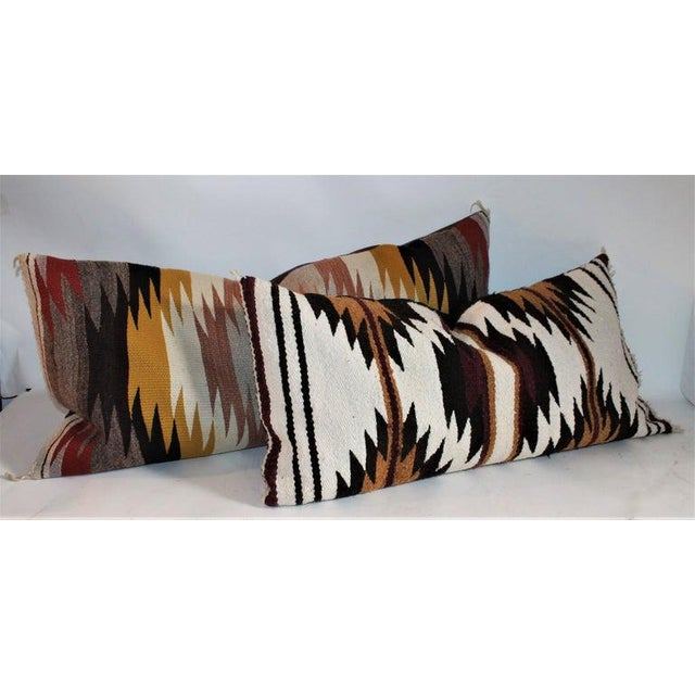 Cotton Navajo Indian Saddle Weaving Pillows - Set of 2 For Sale - Image 7 of 12
