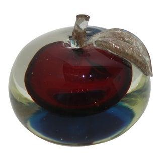 """Mid-Century Murano Glass Red Apple Paper Weight With """"Magic"""" Blue Base and Copper Flecked Leaf For Sale"""