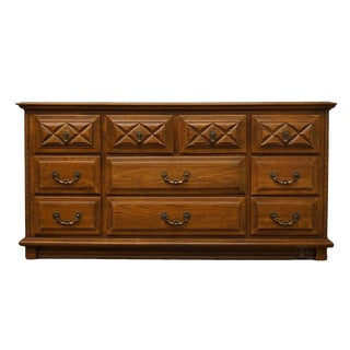 Late 20th Century Vintage Young Hinkle Solid Oak Country Spanish Triple Dresser For Sale
