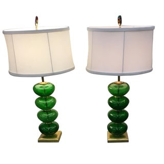 Vintage Murano Emerald Green Lamps - a Pair