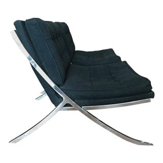Pair of Polished Steel Lounge Chairs by Mueller, 1970s For Sale