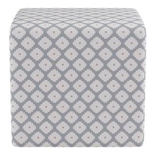Cube Ottoman in Grey Ziggurat For Sale