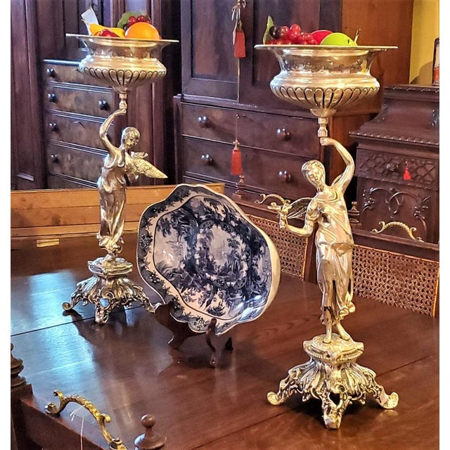 Chromed Angel Centerpieces - a Pair For Sale - Image 12 of 13