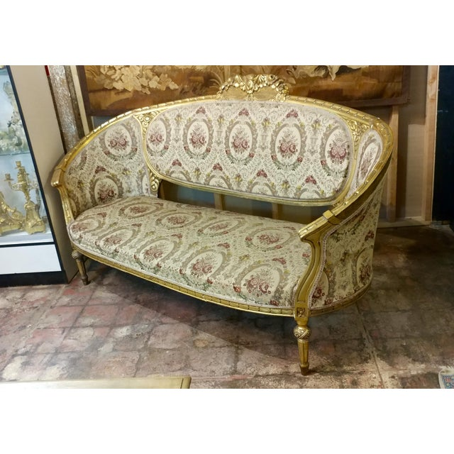 "19th century Beautiful Louis XV Carved Gilt & Tapestry Canopy Sofa size 79w x 29d x 46""h seat height 18"" c"