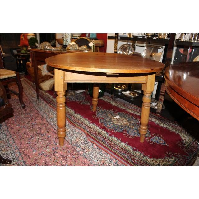 Round Three Legged Pine Side Table - Image 3 of 5