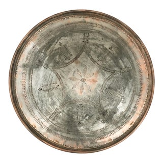 Hand Hammered Vintage Copper Tray For Sale