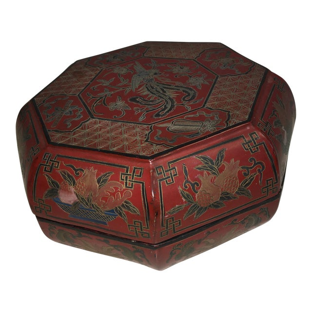 Vintage Red Lacquer Chinese Octagonal Box For Sale