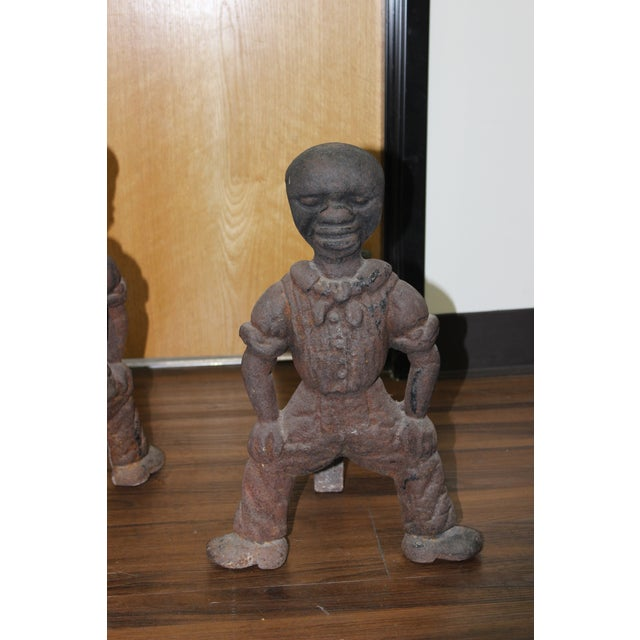 19th Century Antique Black Americana Cast Iron Fireplace Andirons For Sale - Image 5 of 6