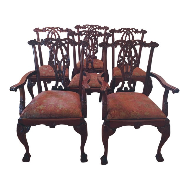 Chippendale-Style Mahogany Dining Chairs - Set of 6 For Sale