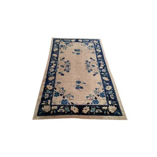 Antique Chinese Art Deco Handmade Knotted Rug - 3′10″ × 6′10″ - Size Cat. 4x6 5x7 For Sale