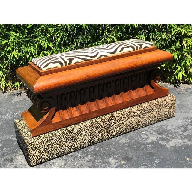 Carved Italian Neoclassical Mahogany Metamorphic Window Bench Jardiniere The upholstered base was added for a design show...