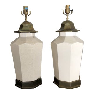Vintage Chapman White Crackle Cermic & Brass Pagoda Lamps - a Pair For Sale