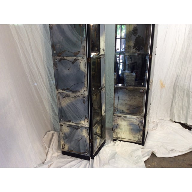 Mid-Century Modern Mirrored Four-Panel Screen - Image 4 of 11