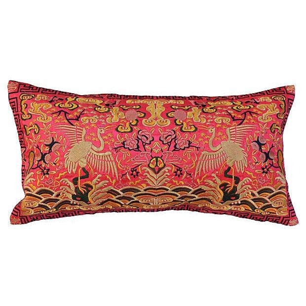 Silk Embroidered Crane Boudoir Pillow For Sale
