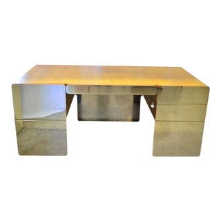 1970s Space Age Chrome Teak Desk For Sale