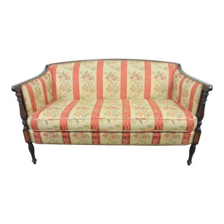 Sheraton Mahogany Inlaid Floral Loveseat For Sale