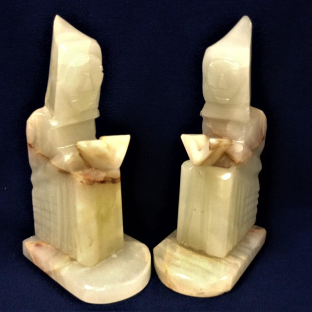 Early 21st Century Carved Onyx Monk Book Ends - a Pair For Sale - Image 5 of 5