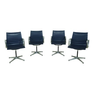 Set of 4 Herman Miller Eames Style Blue Leather Aluminum Chairs For Sale