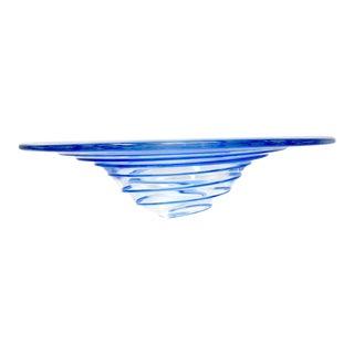 Vintage Hand Blown Blue Spiral Glass Bowl For Sale
