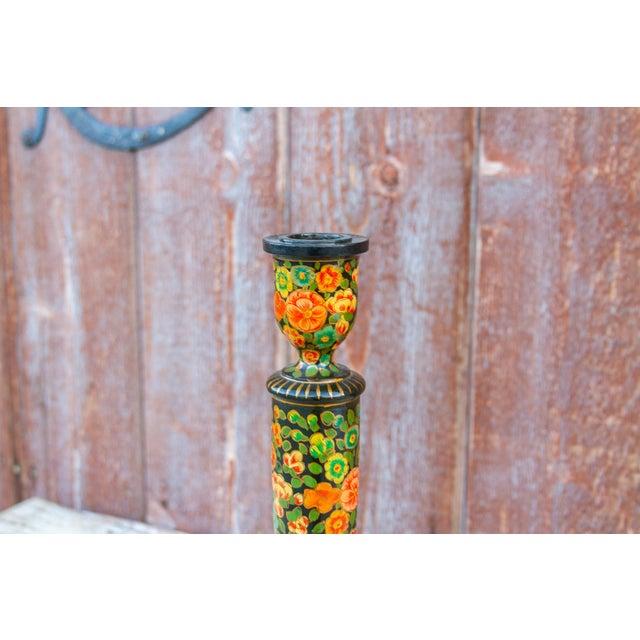Boho Chic Black Floral Kashmiri Candle Holder For Sale - Image 3 of 6